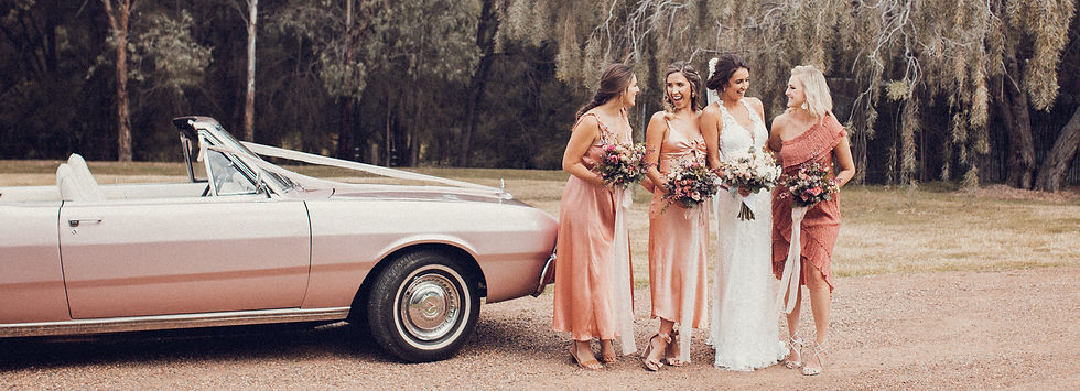 Coral Colour Theme Bridal Party Hunter Valley Wedding de