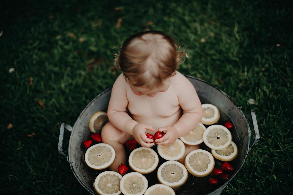 fruit bath mini portrait session de lumiere photography