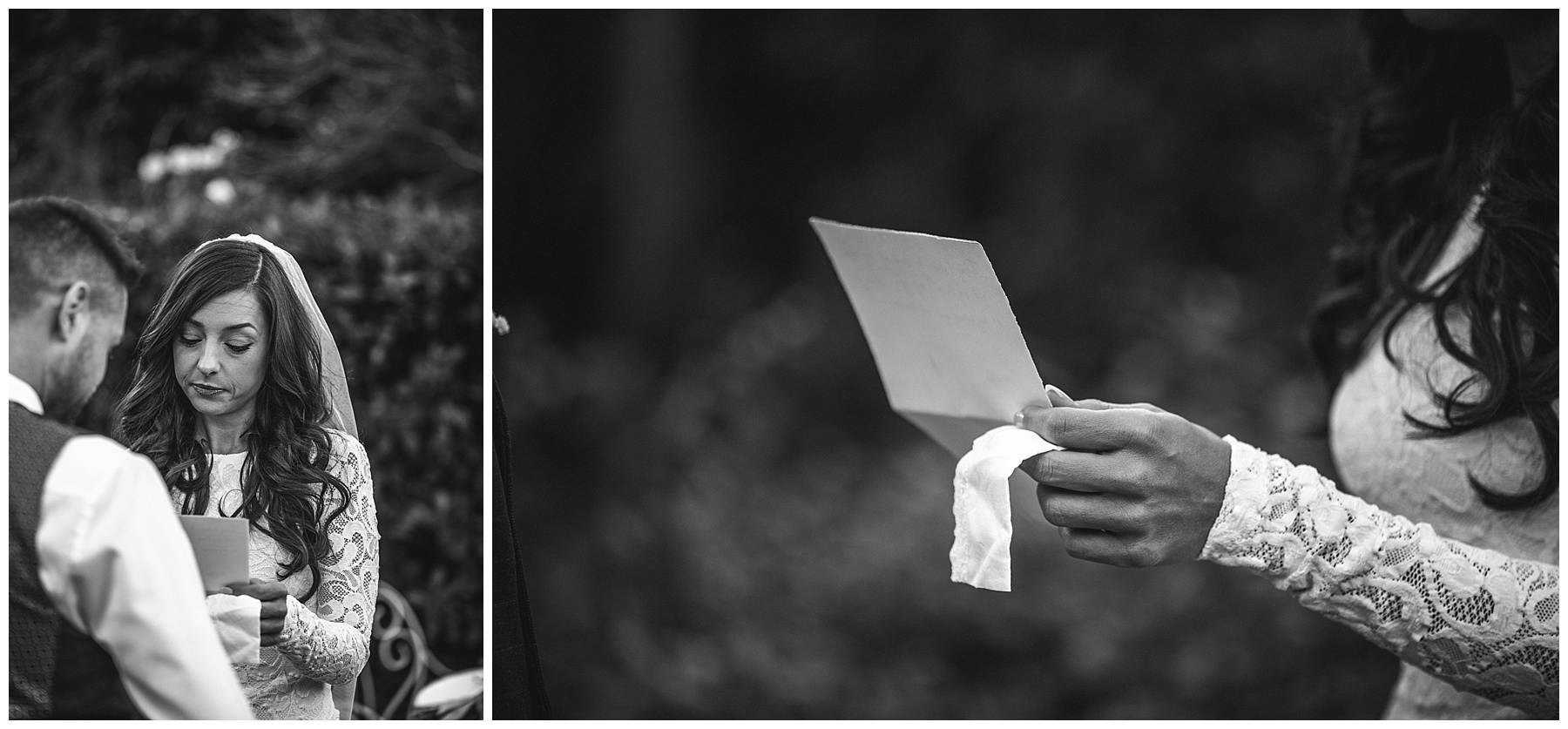 The bride reading her vows with her something old - de lumière photography