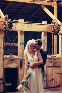 professional wedding photography shearing shed bride and groom