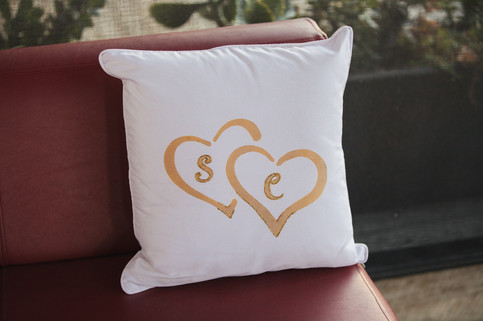DIY personalised wedding cushions