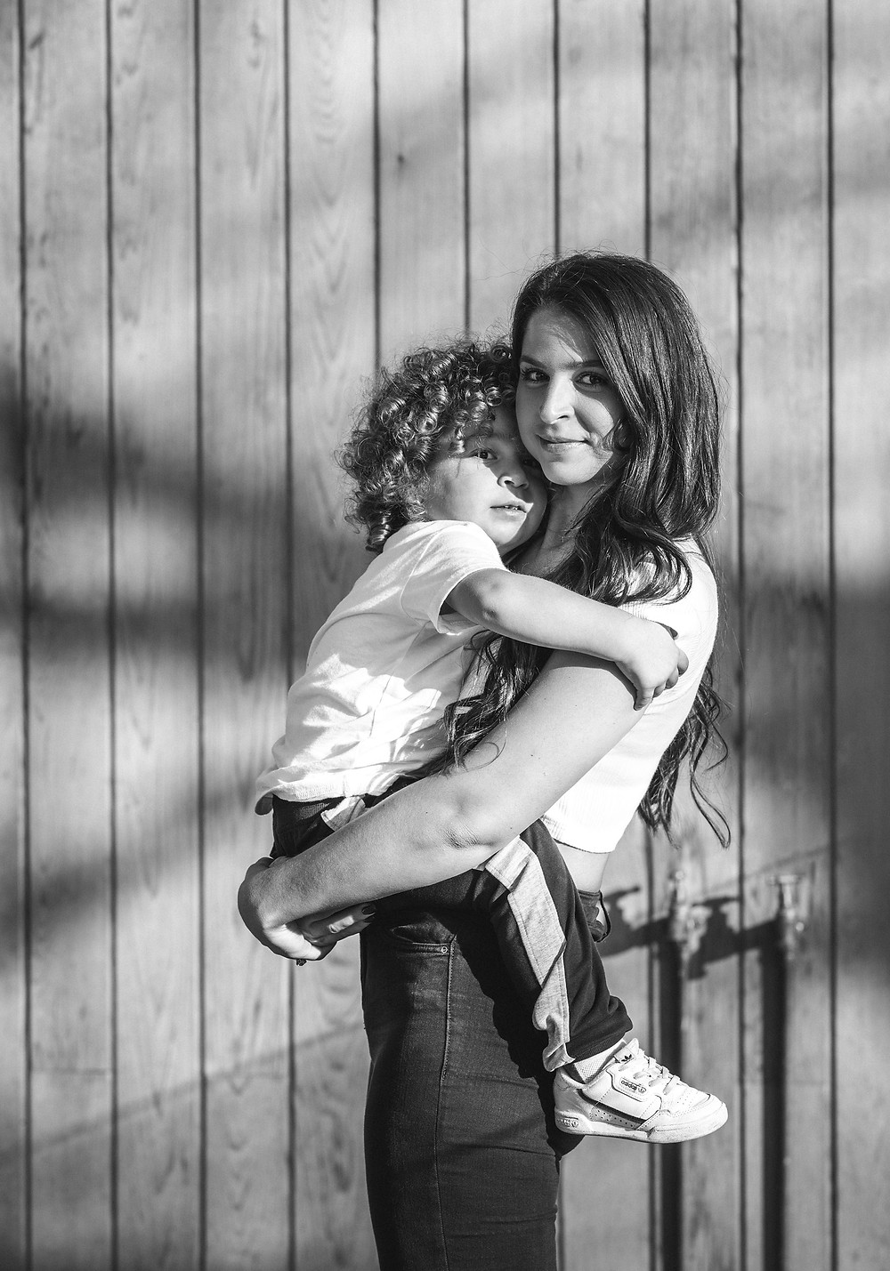 mother and son family portraits at home