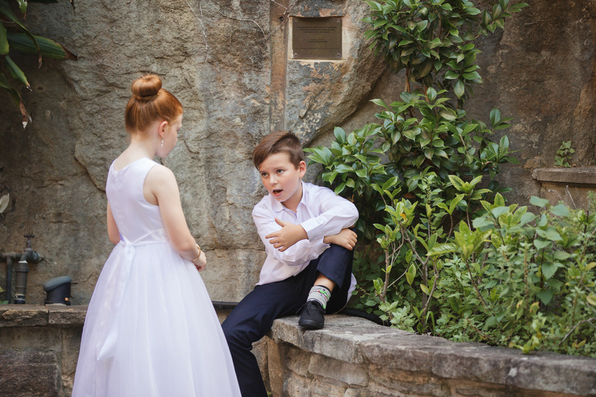 Funny image of the pageboy and flowergirl