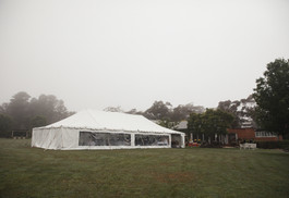 Wedding marquee on a misty wedding day - de lumière photography
