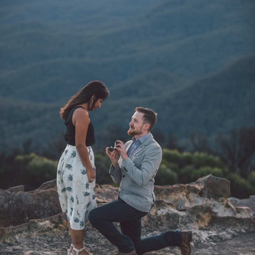Surprise proposal - man with engagement ring