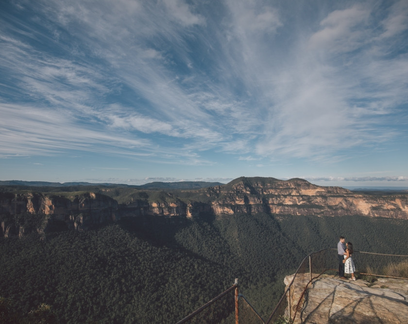 Blue mountains with couple in bottom right corner