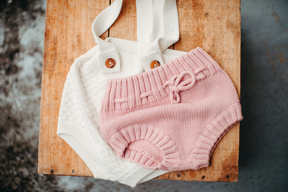 vintage style knitted sitter outfits for portrait session de lumiere photography