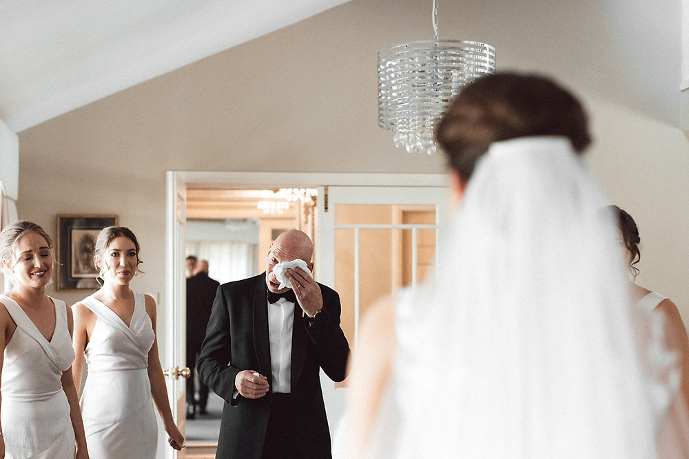 father crying on seeing his daughter sydney wedding photographer
