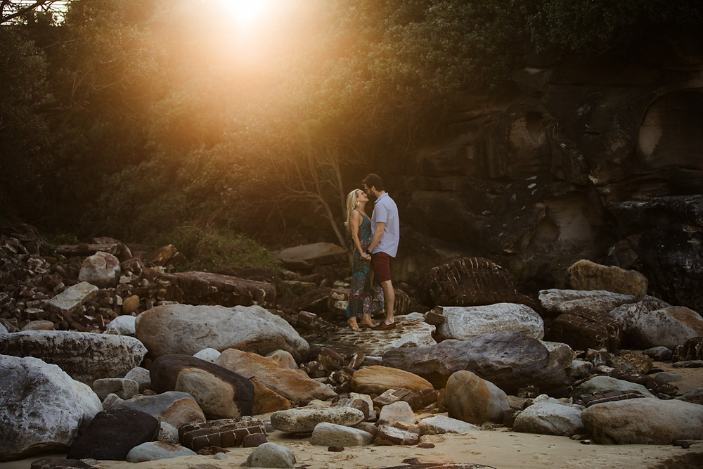 Danielle and Richard at their engagement photography session at Little Bay Beach by de lumière photography