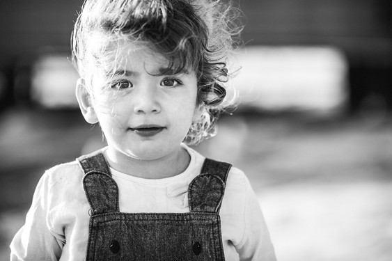 Black and white portrait of a toddler
