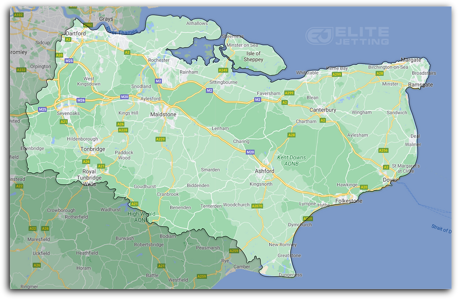 Map of area where we deliver our exterior cleaning, pressure washing, exterior steam cleaning services for cleaning driveways, patios, pathways & gutters. Working out of Sheerness, Isle of Sheppey, Kent.
