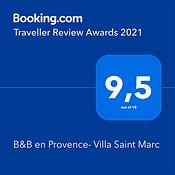 award 2021 Booking.com note de 9.5 sur 10