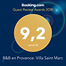 Booking.com guest review winning award 2018 for Vila saint Marc, note : 9,2 out of 10