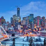 Edmonton downtown Winter skyline just af