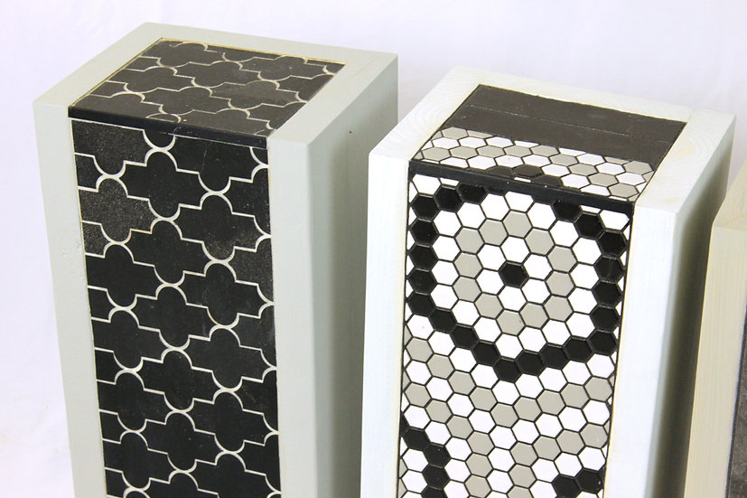 Table - White Black Filigree