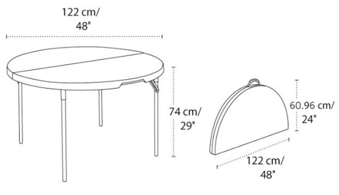 4' Round Folding Table
