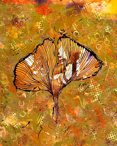 Gingko I_acrylic and ink on paper_8x10_A