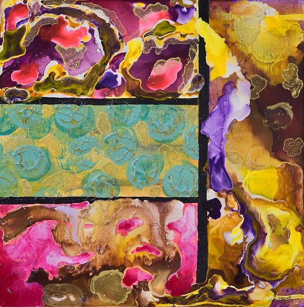 Sandbar acrylic & ink on panel 10x10 Ali