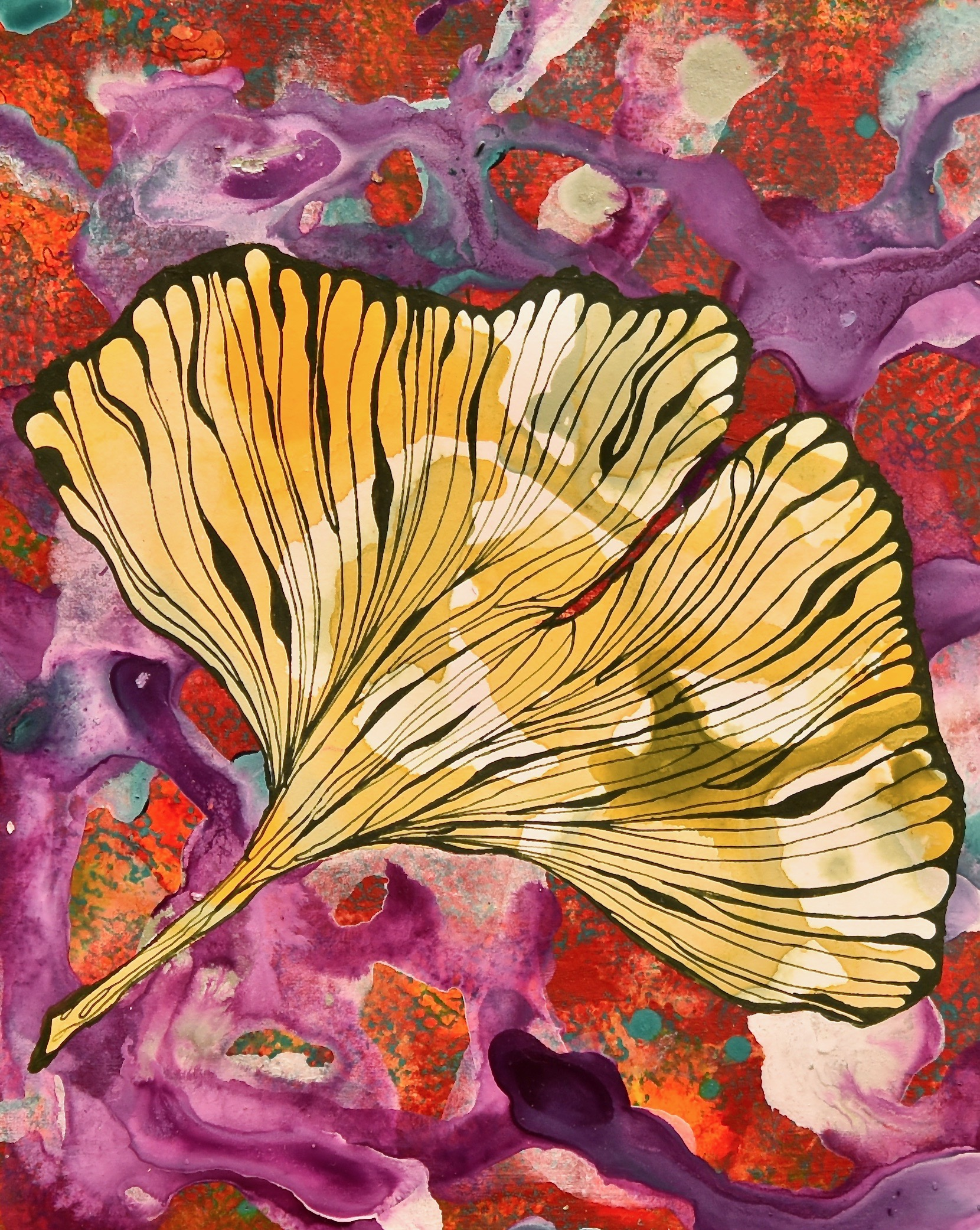 Gingko II_acrylic and ink on paper_6
