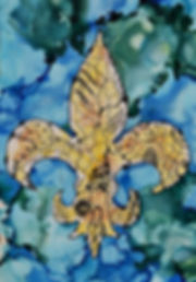 Fleur de Lis alcohol ink on yupo 5x7 Ali