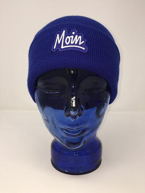 Platte Anna Beanie in Königsblau Farbe mit Moin Patch