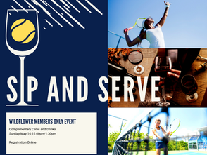 TENNIS SIP AND SERVE EVENT THIS SUNDAY AT 12 PM
