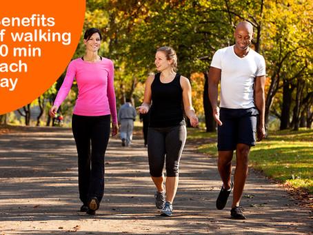 Benefits of walking 30 min each day.
