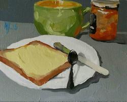 """Desayuno. Tostada y mermelada"""