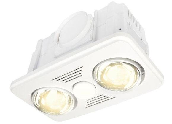 Brilliant Velocity 2+1 Bathroom Heat Exhaust Fan with 9W LED White