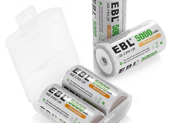 Rechargeable C Batteries 4 Pack , Type C Rechargeable Batteries EBL Brand