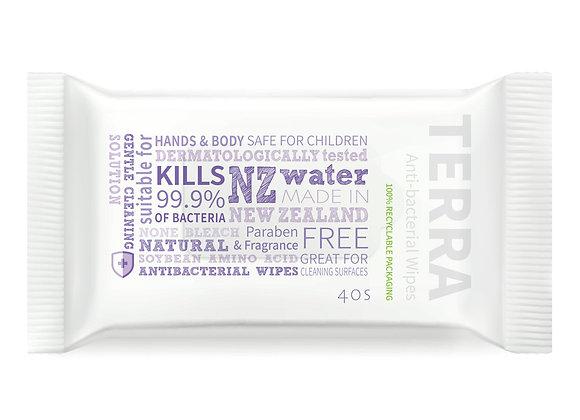 Terra Anti-bacterial Wipes 40pcs - Kills 99.9% Germs- NZ Fast Shipping