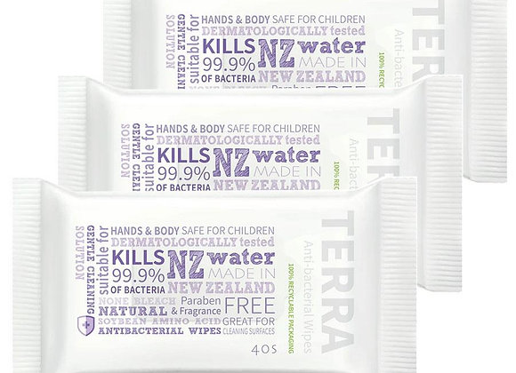 3 packs Terra Anti-bacterial Wipes 40pcs - Kills 99.9% Germs- NZ Fast Shipping