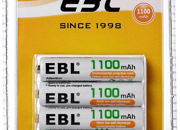 EBL AAA Rechargeable Batteries (4 Counts) 1100mAh Pre-Charged Triple A NiMH