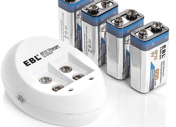 EBL 4-Pack Li-ion 9 Volt Rechargeable Batteries with 840 9V Battery Charger