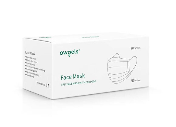 5 Packs Owges 3-ply Protection Face Mask BFE95% of 50 pieces
