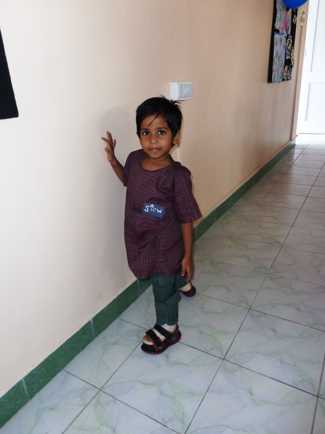 Anushka Trying to walk holding the wall