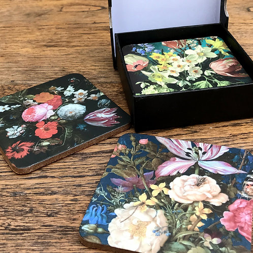 Flower Design Set of 6 Coasters in Gift Box