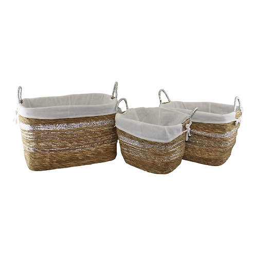 Set of 3 Fabric Lined Raffia and Silver Baskets