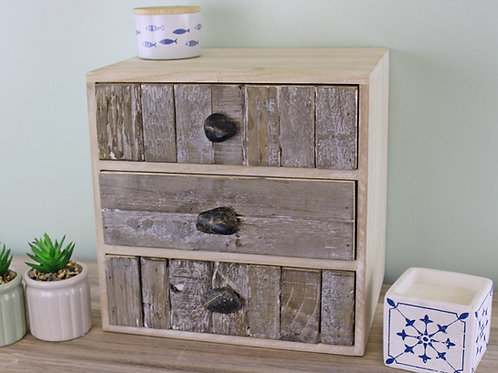Driftwood Effect 3 Drawer Unit with Pebble Handles
