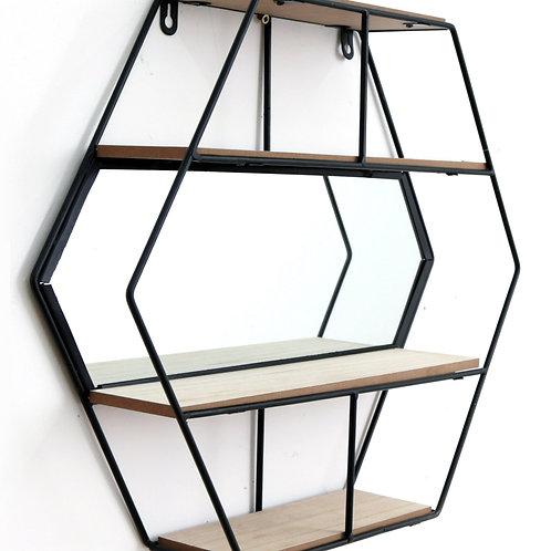 Hexagon Mirror 3 Shelf Unit