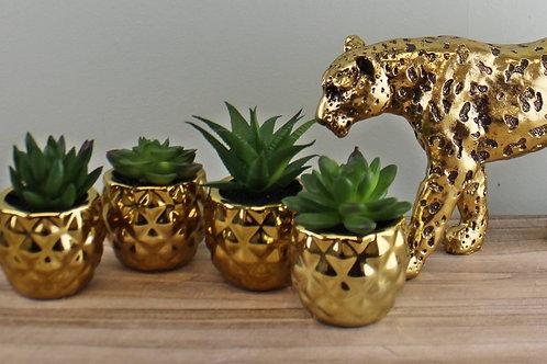 Set of 4 Gold Succulent Plants