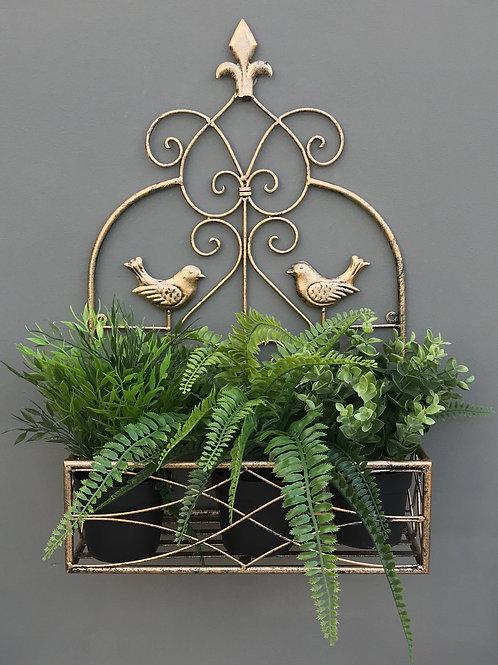 Gold Bird Design Wall Planter