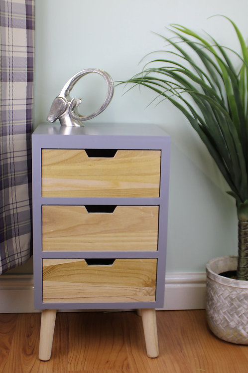Grey 3 Drawer Chest with Natural Wood Drawers and Legs