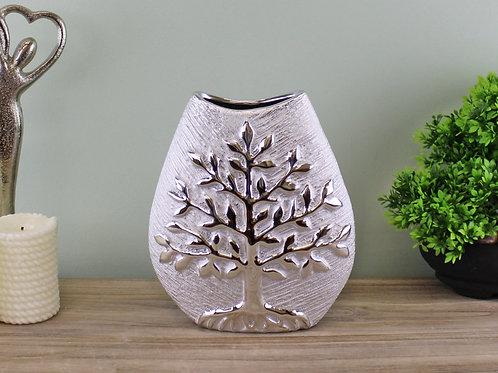 Ceramic Silver Tree of Life Vase