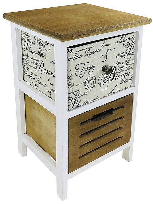 White and Wood Side Table with 1 Canvas and 1 Wood Drawer