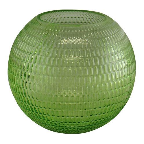 Embossed Glass Light Green Bowl Vase