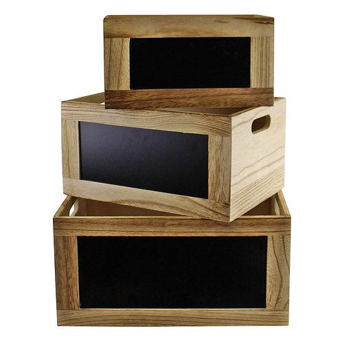 Set of 3 Chalkboard Storage Crates