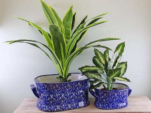Set of 2 Large Crocus Design Ceramic Footbath Planters