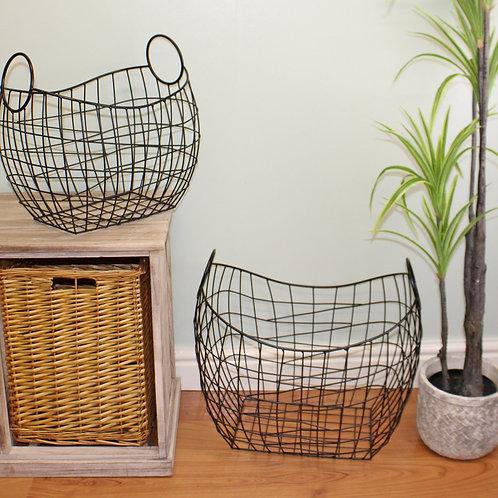Set of 2 Large Iron Storage Baskets