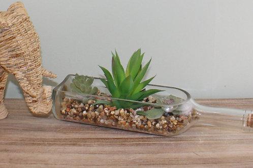 Faux Succulents in Glass Bottle